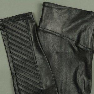 Spanx Black Faux Leather Moto Leggings Size Small